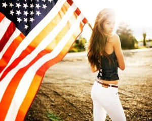 Girl US flag
